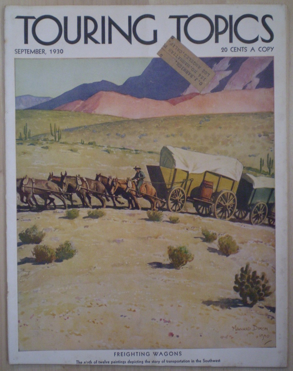 Touring Topics September 1930 Maynard Dixon Vintage magazine