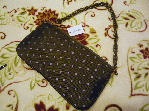 NWT J. Crew 100% Silk Forest Green Dotted Pochette Purse Shoulder Bag