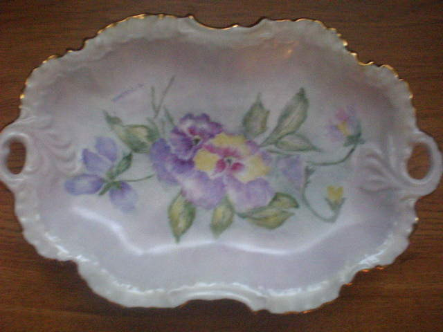 Hand Painted, T. Mitchell Porcelain Serving Dish