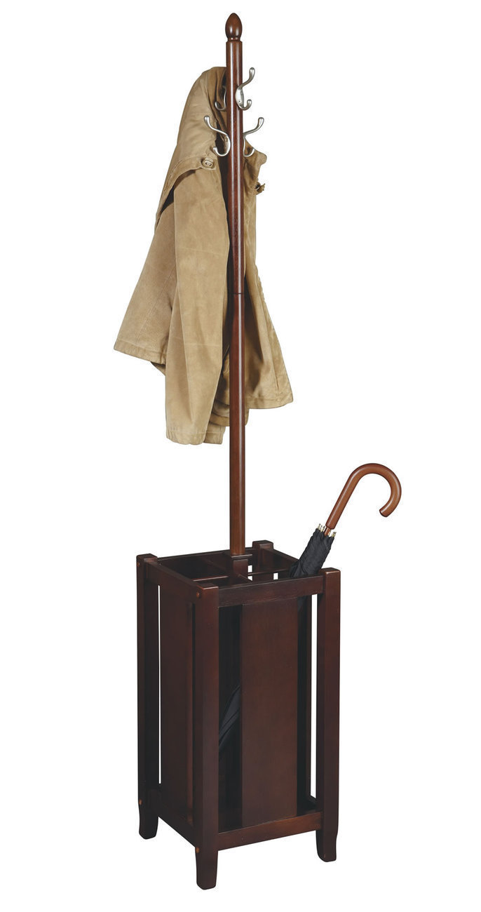 Rich Merlot Brown Finish Wood Coat Hat Rack Umbrella Stand - ME13 OSP Designs