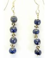 Rich Blue Sapphire Sterling Silver Dangle Earri... - $62.33