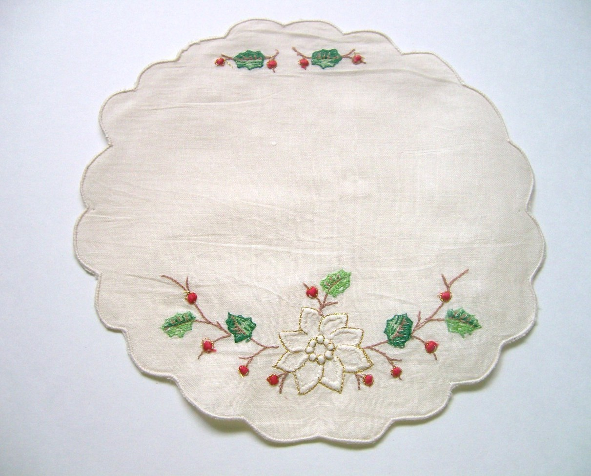 Christmas Doily  8 Inch Ecru Embroidered Poinsettia Holly Several Available