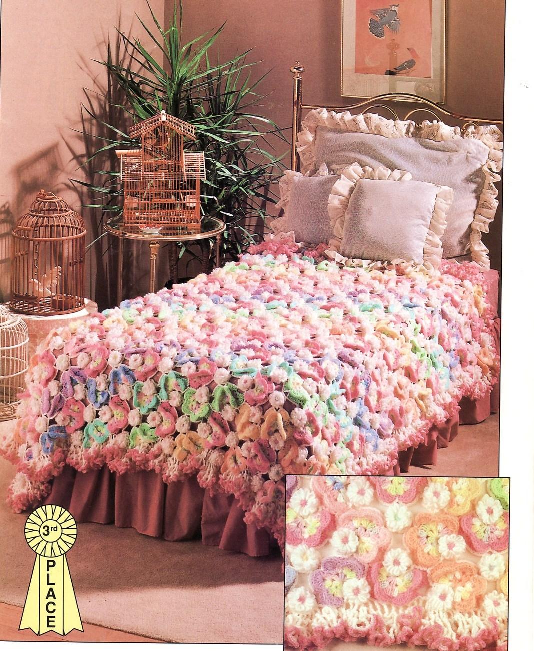 Crochet Bedspread : Rainbow Of Butterflies Crochet Pattern Bedspread Blanket Throw Home ...