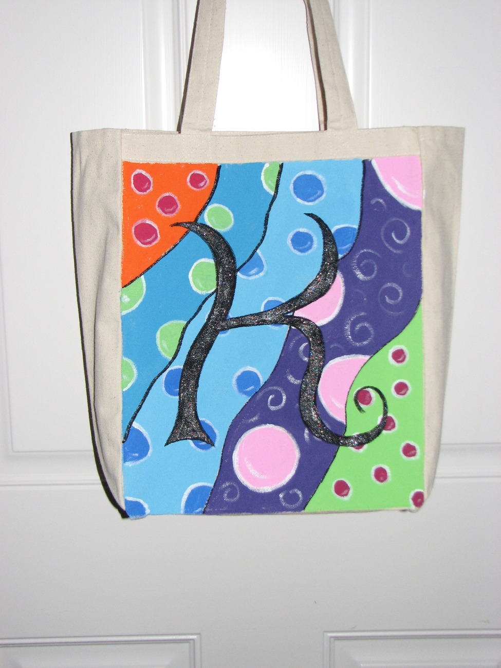 Personalized painted canvas tote w initial or name, choose your own color, 13 x
