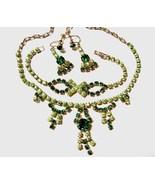 Demi Parure Set Rhinestone Necklace Bracelet Ea... - $30.00
