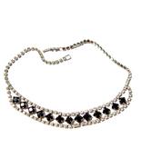Rhinestone Necklace 15 inch Prong Set Vintage - $24.00