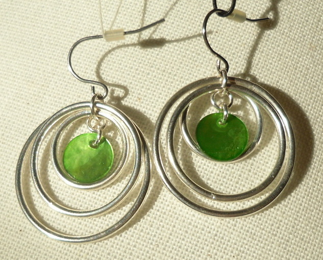 Green and Silver Hoop Earrings NEW