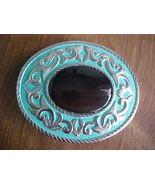 Silver Lk Turquoise Enamel Brazil Agate Belt Bu... - $19.00