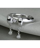18k Gold  Diamond Ring Dangle Bow Bebe Tung Q&D... - $495.00