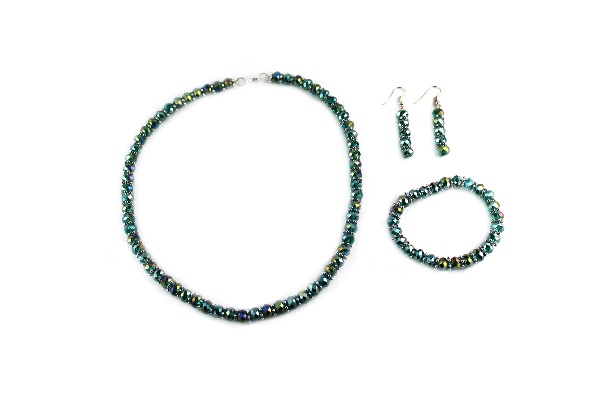 Royal Jewelry Set in Teal Crystal