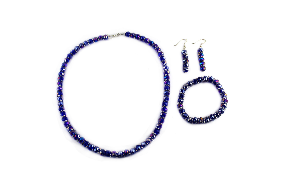 Royal Jewelry Set in Iridescent Purple Crystal