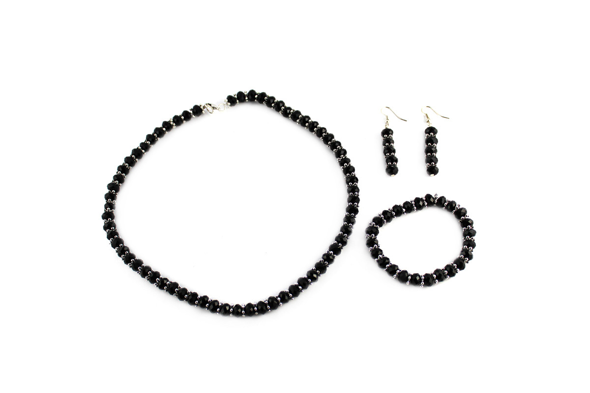 Royal Jewelry Set Black Tie Crystal
