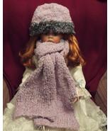 Handknit  Ladies Fashion  Hat,Long Scarf Mauve ... - $14.95