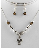 Kids' Necklace earring set cross footprint char... - $11.87