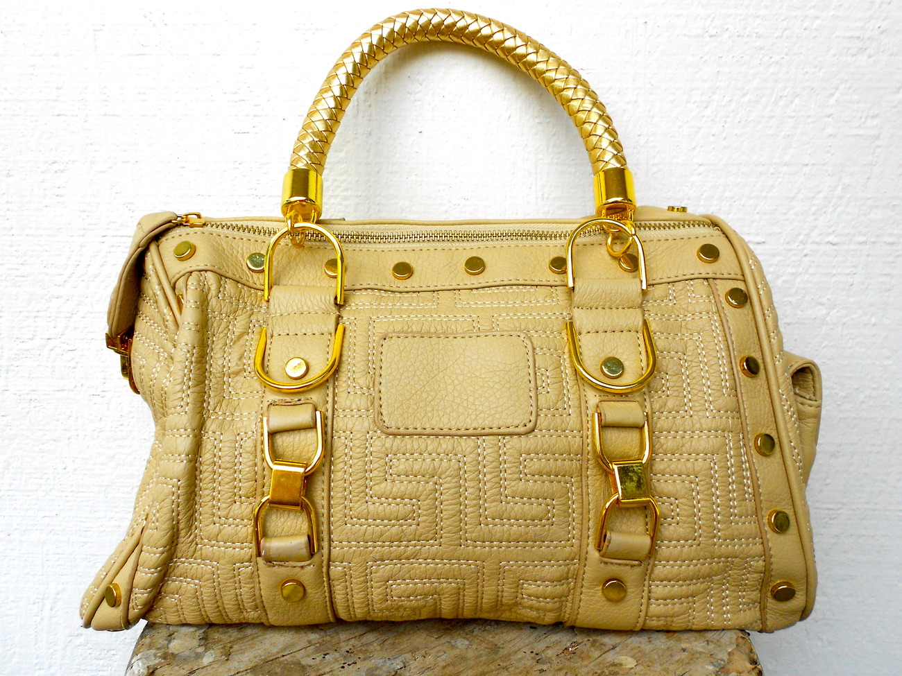 womens ligt brown gold handbag bag purse