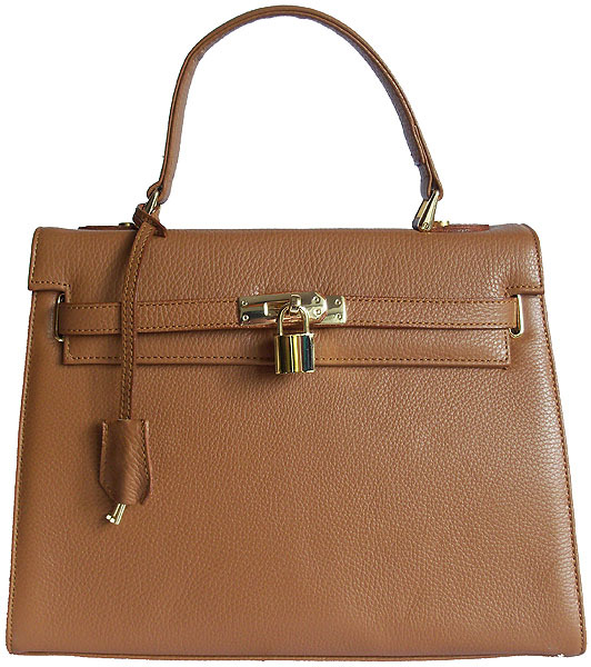 Carbotti Designer Style Kensington Dark Tan Leather Handbag