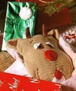 X060 Crochet PATTERN ONLY Rudy Reindeer Pillow ... - $9.45