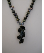 SOLD: Gray Freshwater Pearl Necklace, Lampworke... - $33.00