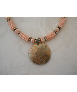 Peachy Beaded Bead & Pearl Necklace With Carved... - $85.00