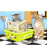 Art print 5x7 Cat 464 funny painting by Lucie D... - $9.99