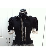 Black White Gothic Lolita Princess Lace Blouse Tie Neck Top Victorian Shirt