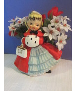 Vintage 1956 Napco Christmas Girl w/ Purse & Muff  Figurine Planter
