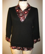 Style & Co Layered Look Knit & Satin Top Size L... - $23.00