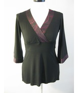 INC Black Empire Waist Tunic Top With Satin Tri... - $26.00