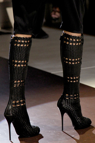 $3800 GUCCI RARE RUNWAY TALL WOVEN BLACK LEATHER BOOTS 36 39.5 40