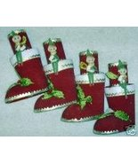 4 VINTAGE SANTA CLAUS BOOT FELT CANDLE HOLDERS ... - $9.90