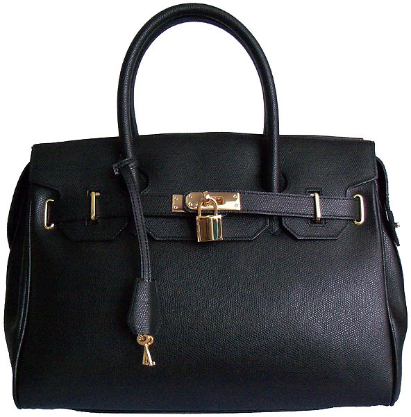 Carbotti Designer Style Black Leather Handbag