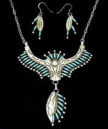 Native American Zuni Sterling Silver Turquoise Needlepoint N
