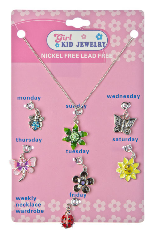Girls Kid Jewelry Daily Seven Flower Charm Pendants and Chain Necklace Set