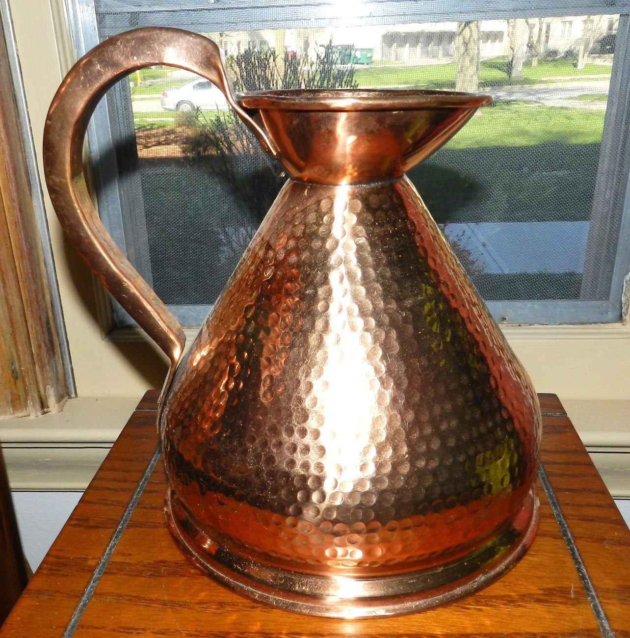 Hammered Finish Copper Plated Brass Pitcher, Large