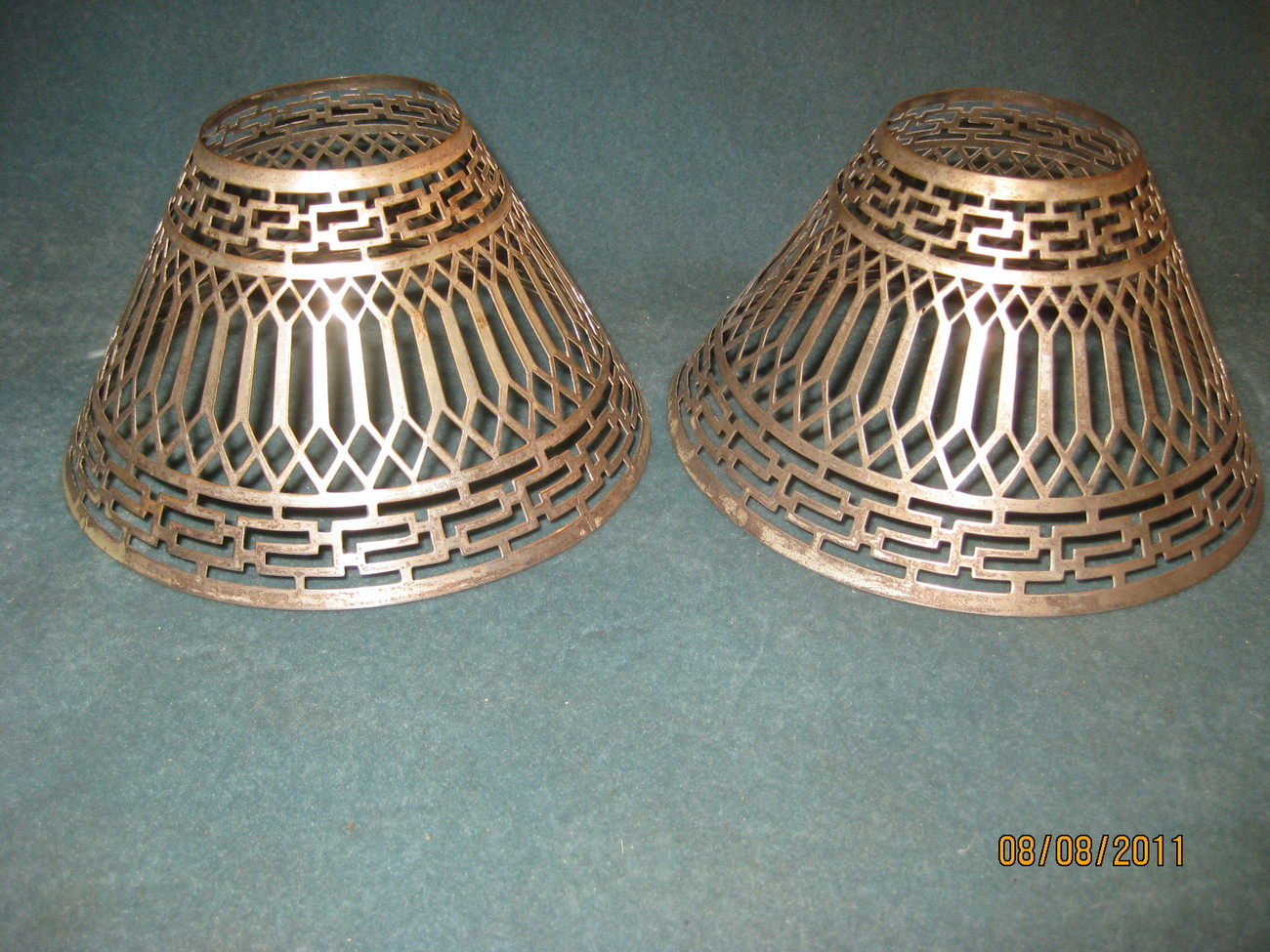 Pair Of Pierced Metal Candle Lamp Shades Lamps