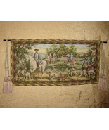 Vintage Hunting Scene Tapestry Wall Hanging Or ... - $44.55