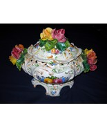 Antique CAPODIMONTE TUREEN WITH COVER - hand pa... - $399.99
