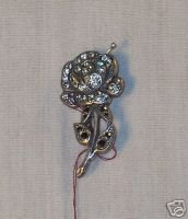 LA VIE Silverplate Jewel Encrusted Rose Pin