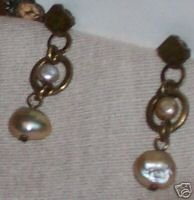 LAURA VOGEL Hand Crafted Metal/Pearl Earrings