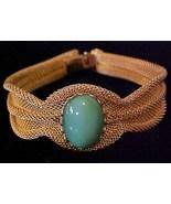 Vintage Paradise Gold Mesh Bracelet Emerald Gre... - $17.95