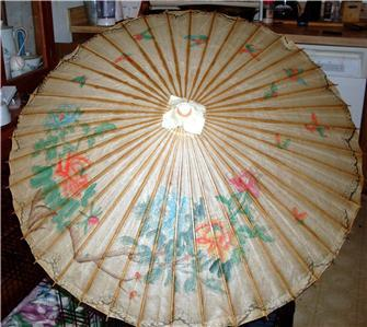 Vintage Japanese Wooden Frame with Paper Umbrella