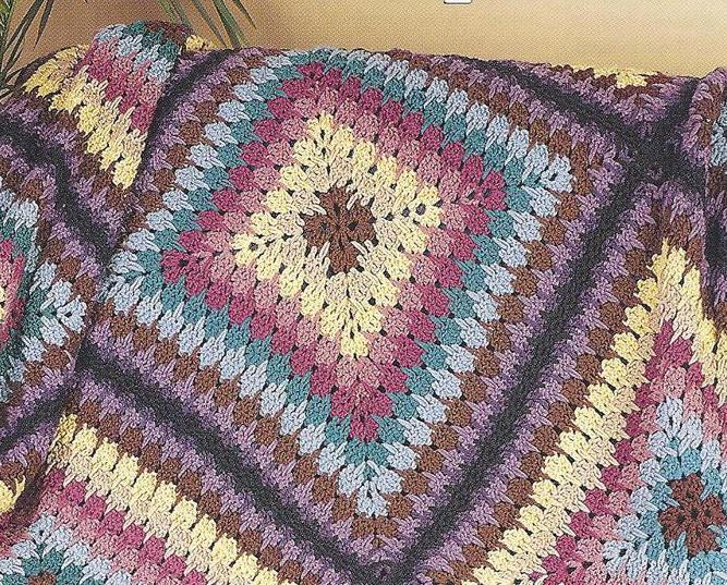 Geometric Squares Afghan Crochet Pattern~Needlecraft Shop ...
