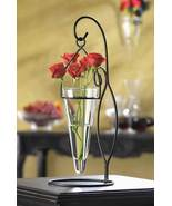 Vase and Stand Candle Holder Hanging Cone Glass... - $12.00