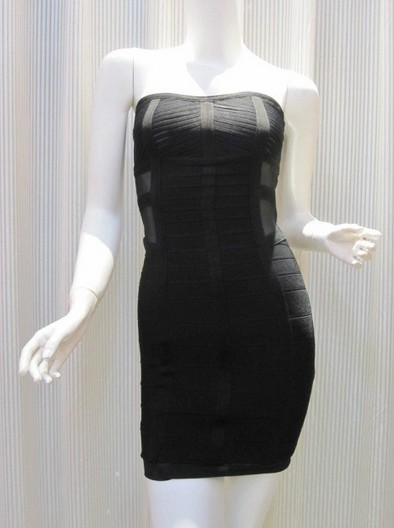 Celebrity Style Body-con Strapless Black Bandage Dress with Free Shipping to US