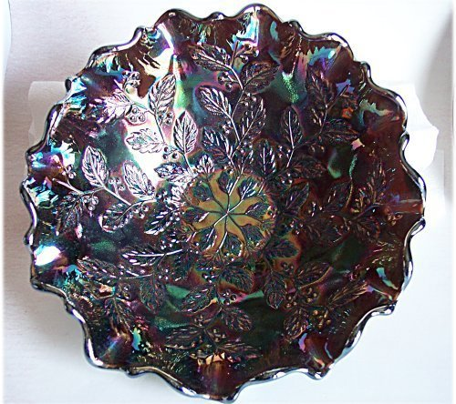 Fenton Holly with Berry Amethyst Carnival Bowl