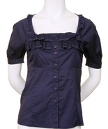 S navy blue blouse rockabilly lace puff sleeve victorian button up gyaru top
