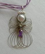 Pancreatic Cancer Awareness Ribbon Angel Neckla... - $12.99