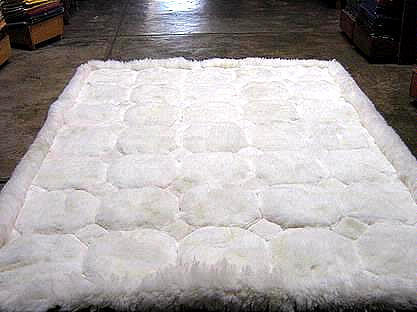 White alpaca fur rug with Octagon designs, from Peru 300 x 280 cm