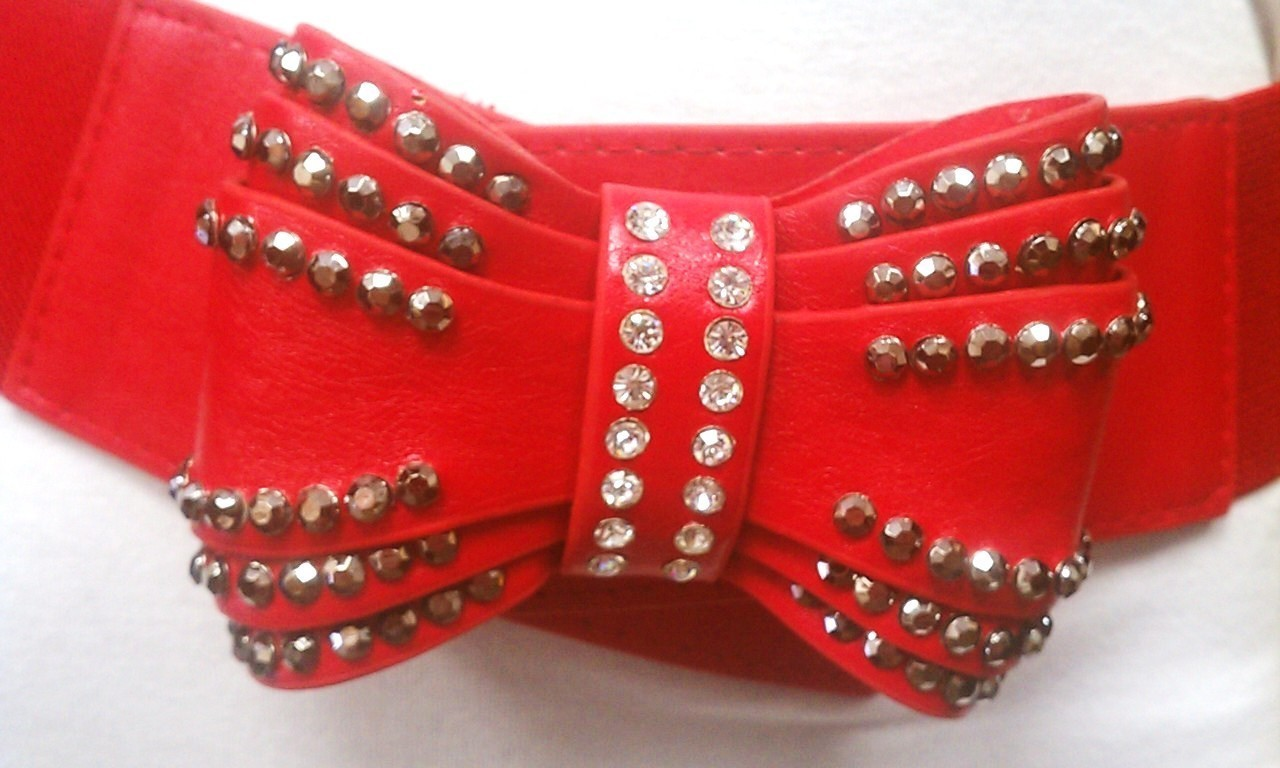 Fashionable Women Studded and Rhinestone Big Bow Red Stretch Belt S-M-L