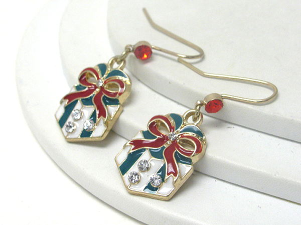 Crystal and Epoxy Christmas Gift Box Gold Dangle Earrings